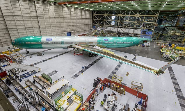 Pictured: The first fully assembled 777X jetliner