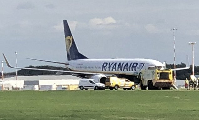 Ryanair flight suffers a burst tyre and forces runway closure