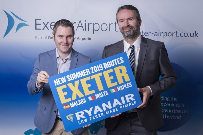 Ryanair launches first services from Exeter
