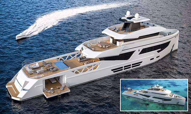 Superyacht boasts a helicopter landing spot and glass bottomed pool