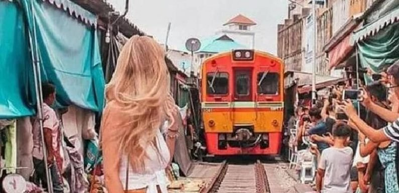 'Blogger' slammed for standing in front of a moving train for the perfect Instagram shot