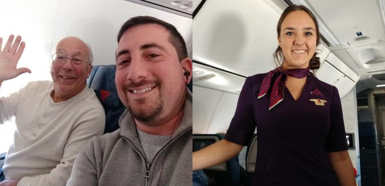 Father spends Christmas flying across US to keep cabin crew daughter company