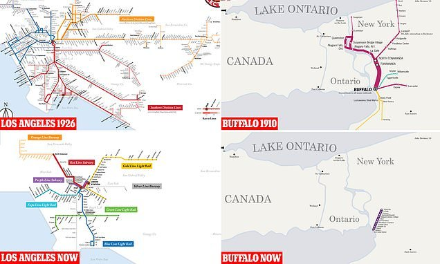 Maps of North America's old transit systems vs the modern day versions