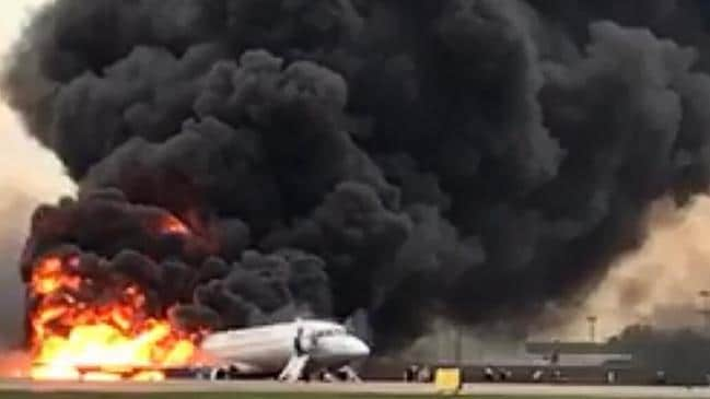 Russian plane engulfed in fireball