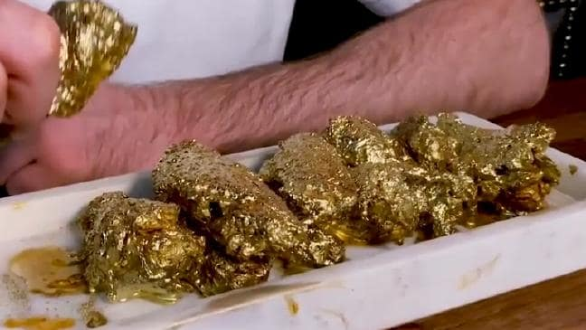 Gold chicken wings that cost $1437