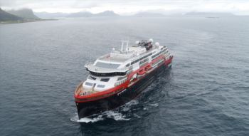 MS Roald Amundsen takes to water for first time