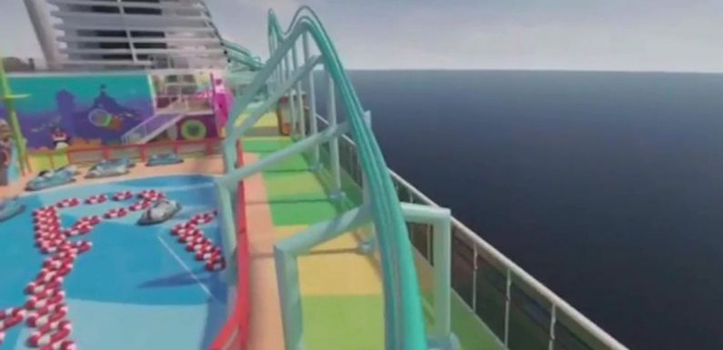 New cruise ship unveils epic theme park with the longest rollercoaster at sea