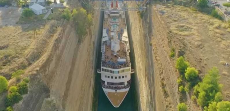 Watch a Full-size Cruise Ship Squeeze Through a Tiny Canal in Greece (Video)