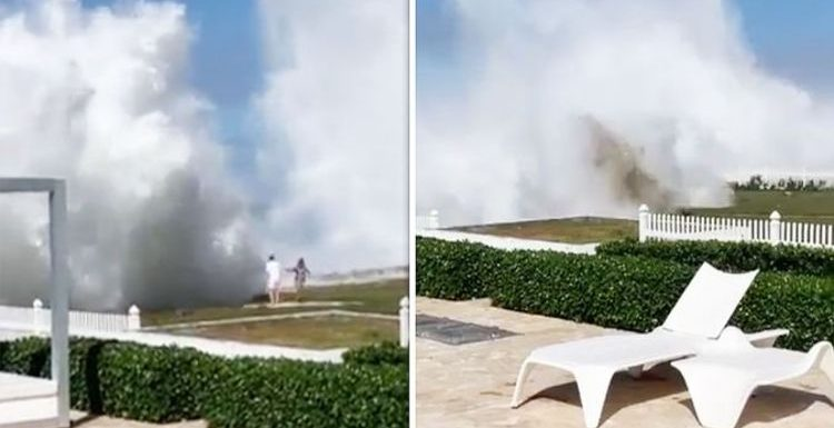 WATCH: Shocking moment enormous wave slams into unsuspecting Caribbean holidaymakers