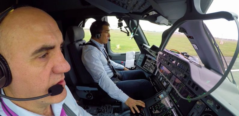Airplane completes fully automated take off as pilots resist urge to take over