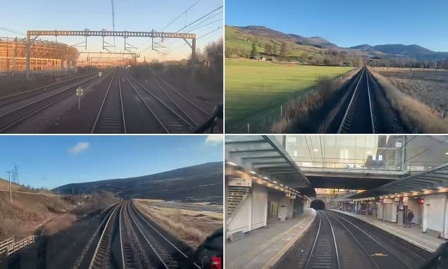 Time-lapse cab ride clip shows a train hitting 830mph in the Highlands