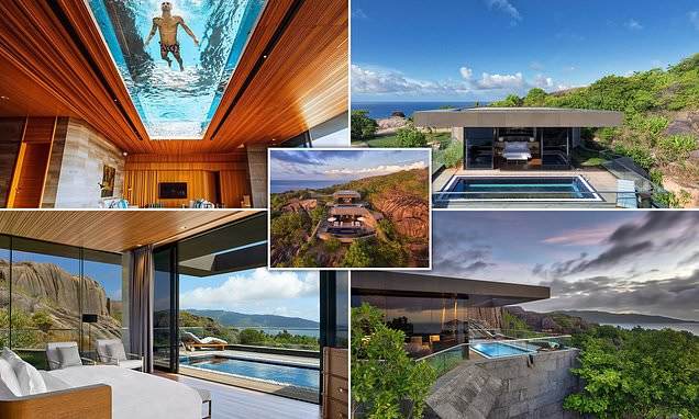 The villas with clear-bottomed swimming pools IN THE CEILING