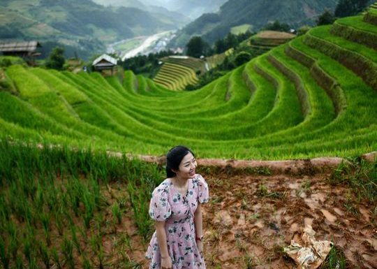Picturesque terraced rice fields of Mu Cang Chai, northern Vietnam