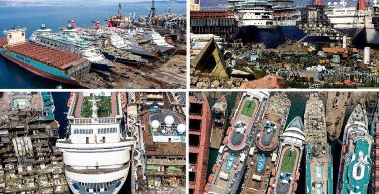 Travel pictures: Incredible photos show huge cruise ships being scrapped