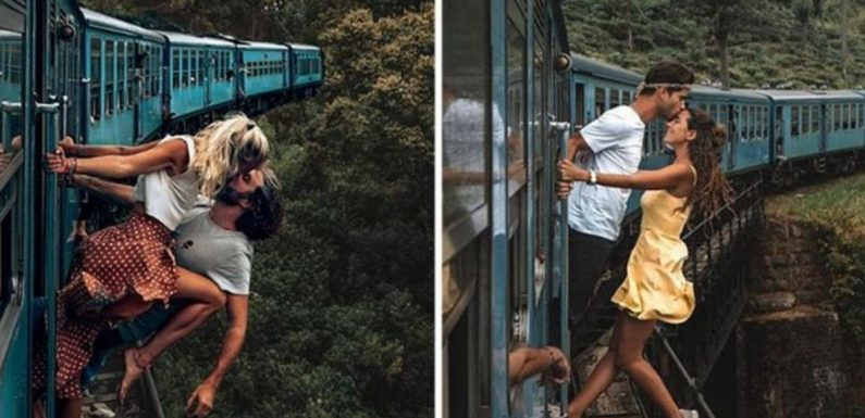 Couples hang off railway carriages in death-defying Instagram trend