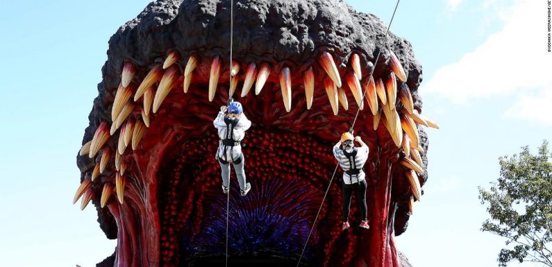 New Japanese theme park attraction lets guests zipline into Godzilla's mouth
