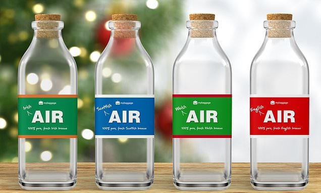Bottled air from England, Ireland, Scotland and Wales for sale