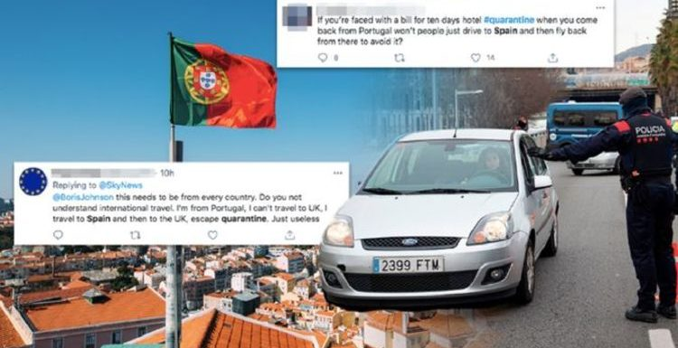 Britons 'to avoid' 'useless' hotel quarantine from Portugal by driving to Spain