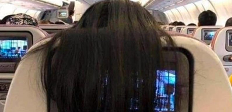 Plane passenger branded 'disgusting' for draping hair over the screen behind her