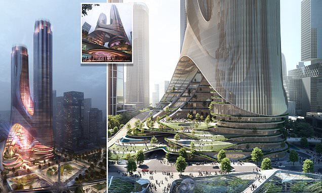 Pictured: Zaha Hadid's stunning sci-fi-style linked skyscrapers