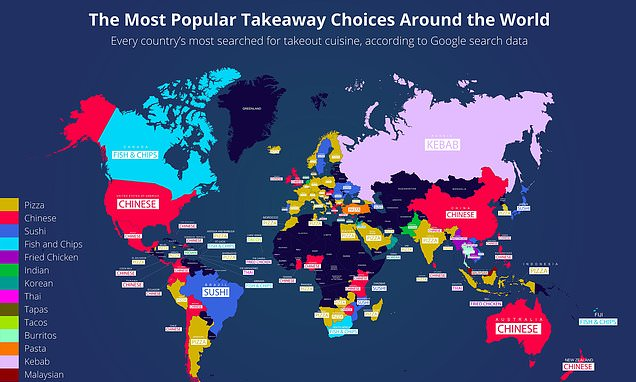 Fascinating map shows how pizza is the world's favourite takeaway