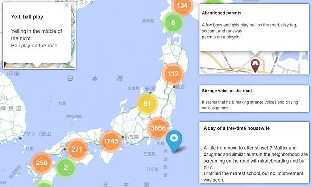 The map of Japan that pinpoints neighbourhoods with noisy children
