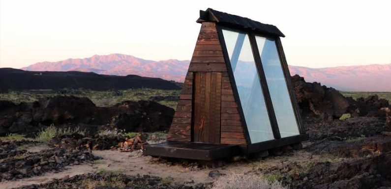 This Tiny California Cabin Is Inside an Ancient Volcanic Crater — and Its Glass Walls Let You Take in the View
