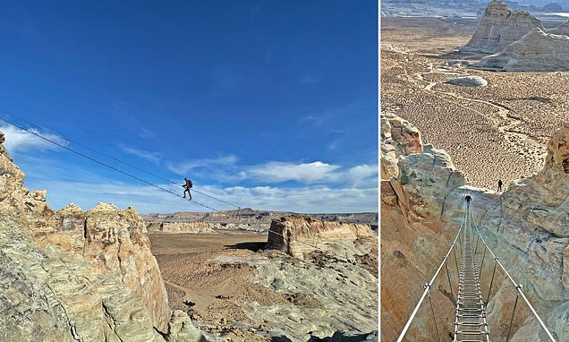 Pictured: The new 'sky ladder' that hangs 400ft above rugged Utah
