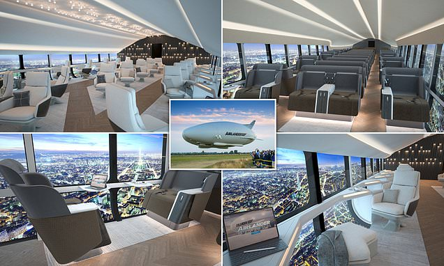 Renderings show the inside of the vast airship with a wall of windows