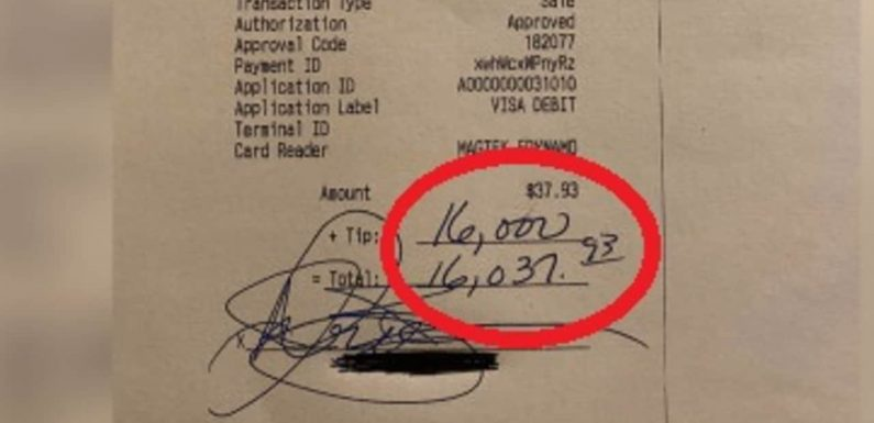Bar patron leaves staff $16K tip at restaurant in the US