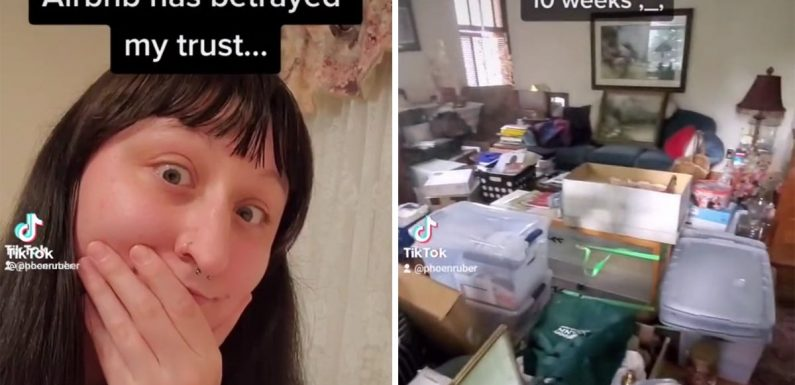 A TikToker says she feels 'betrayed' after the 5-star Airbnb she booked for 10 weeks turned out to be a cluttered nightmare