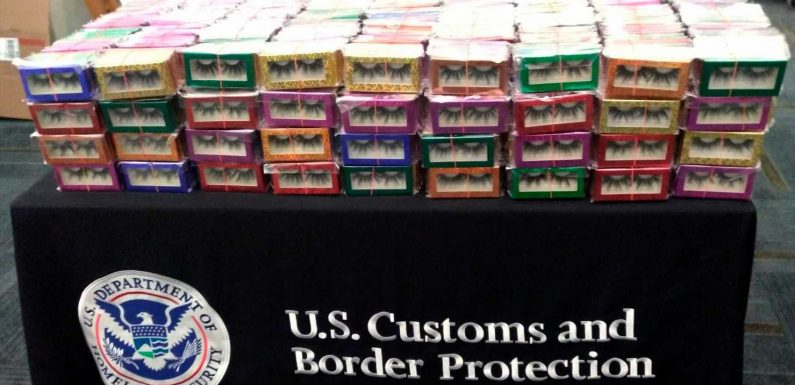 Airport officials in New Orleans confiscated 3,000 pairs of fake eyelashes imported from China, citing safety concerns