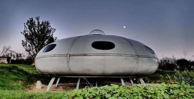 Camp overnight in incredible in a UFO spaceship themed pod in wales