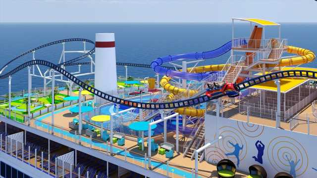 First roller coaster-equipped cruise ship sets sail