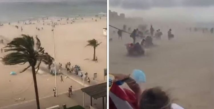 Gandia beach chaos: Sandstorm forces tourists to evacuate as swimmers struggle to get out