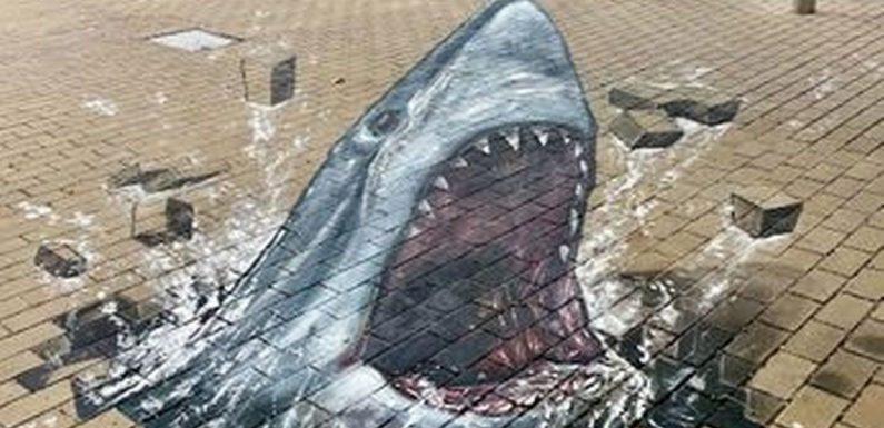 Shoppers get a fright as shark lunges out of pavement in realistic 3D art