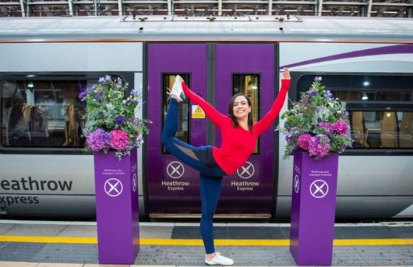 Heathrow Express hosts first ever live yoga class held on moving train