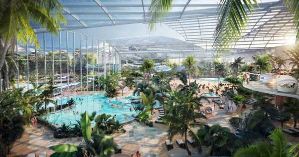 Largest water park in UK to open with 25 pools, 35 slides, saunas & swim-up bars